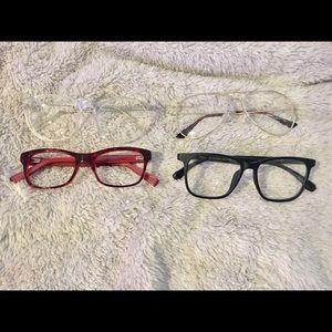 Four pairs of nonprescription glasses one is 7